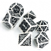 White & Black Celtic 3D Dice Set
